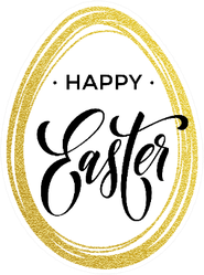Happy Easter Lettering With Gold Glitter Egg Sticker