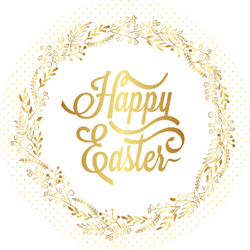 Happy Easter Typography With Gold Wreath Sticker