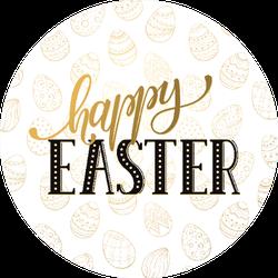 Happy Easter Wording On Golden Background Sticker