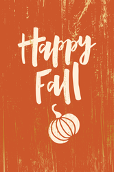 Happy Fall With Pumpkin On Wooden Background Sticker