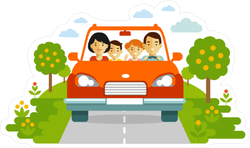 Happy Family Traveling Together Sticker