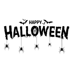 Happy Halloween Lettering Spiders Hanging Sticker