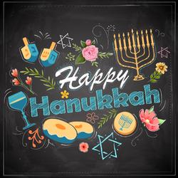 Happy Hanukkah Chalkboard Sticker
