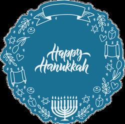 Happy Hanukkah Doodle Wreath Sticker
