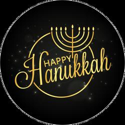 Happy Hanukkah Golden Lettering and Menorah Sticker