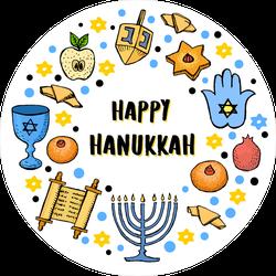 Happy Hanukkah Hand Drawn Icons Sticker