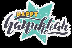 Happy Hanukkah Teal Star Sticker