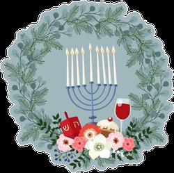 Happy Hanukkah Wreath Sticker