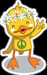 Happy Hippie Yellow Duck Sticker
