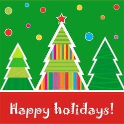 Happy Holidays Christmas Tree Forest Sticker
