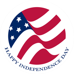 Happy Independence Day USA Flag Circle Sticker
