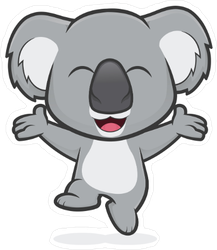 Happy Koala Jumping Sticker
