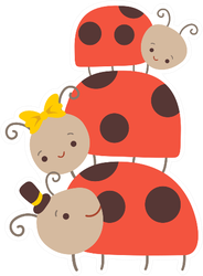 Happy Ladybug Family Sticker