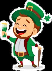 Happy Leprechaun Drinking Green Beer Sticker