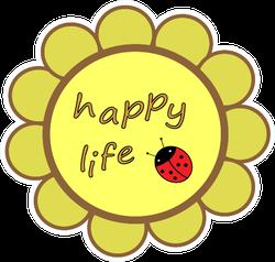 Happy Life Ladybug Sticker