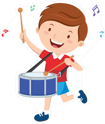 Happy Little Boy Playing Drum Sticker