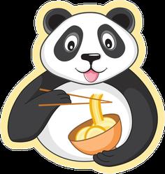 Happy Panda Eating Noodles Sticker