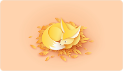 Happy Paper Fox Relaxing On Leaves Sticker