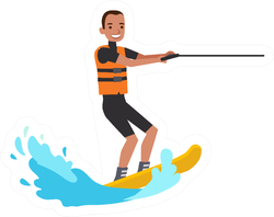 Happy People On Vacation Water Skiing Sticker