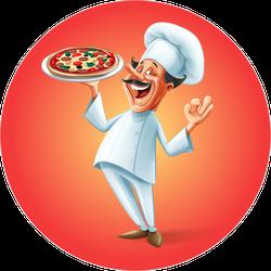 Happy Pizza Chef Sticker