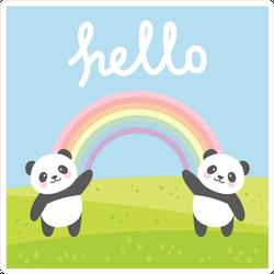 Happy Rainbow Pandas Saying Hello Sticker