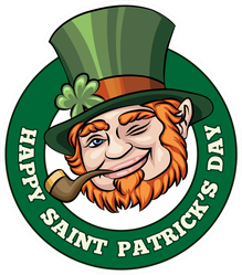Happy Saint Patrick's Day Leprechaun Badge Sticker