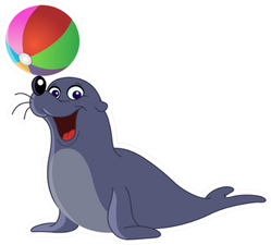 Happy Seal With A Colored Ball On Nose Sticker