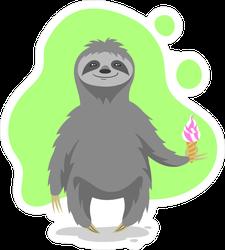 Happy Sloth Holding An Ice Cream Cone Sticker