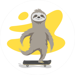 Happy Sloth On Skateboard Sticker