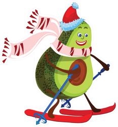 Happy Smiling Avocado In Santa's Hat And Skiing Sticker