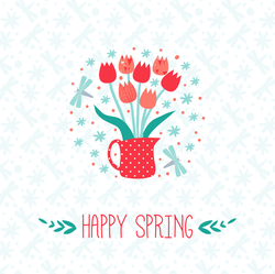 Happy Spring With Tulips Sticker
