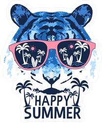 Happy Summer Tiger Beach Sticker
