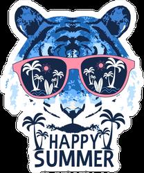 Happy Summer Tiger Beach Sticker