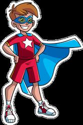 Happy Superhero Boy Sticker