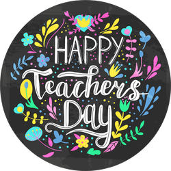 Happy Teacher's Day Floral Illustration Chalkboard Sticker