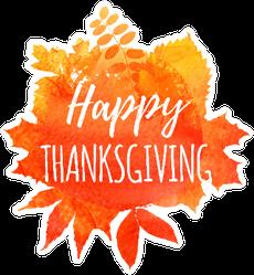 Happy Thanksgiving Autumn Leaf Watercolor Sticker