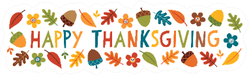 Happy Thanksgiving Banner With Cute Text Sticker