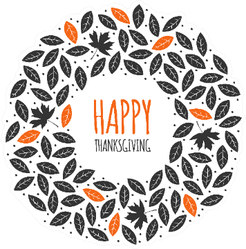 Happy Thanksgiving Black And Orange Leaves Wreath Sticker