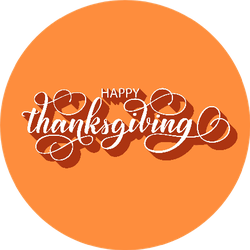 Happy Thanksgiving Fancy Brush Lettering On Orange Sticker