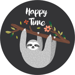 Happy Time Hanging Sloth Sticker