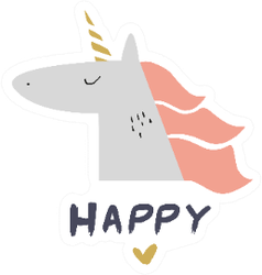 Happy Unicorn With Boho Heart Sticker