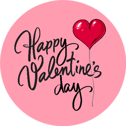 Happy Valentine's Day Card Red Heart Shaped Balloon Sticker