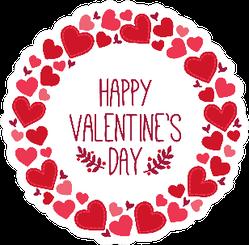 Happy Valentine's Day In Heart Wreath Sticker