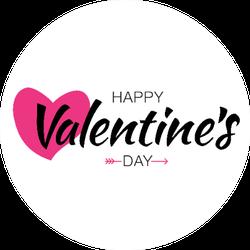 Happy Valentines Day Typographic Lettering Sticker