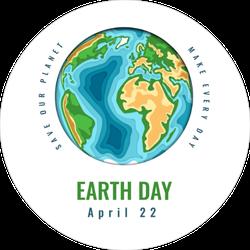 Happy World Earth Day Sticker