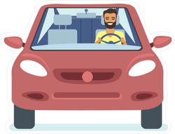 Happy Young Man Driving Red Car Sticker