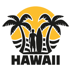 Hawaii Beach With Palms And Surfer Sticker