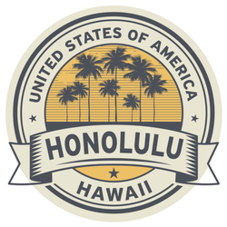 Hawaii, Honolulu, Usa Illustration Sticker