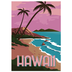 Hawaii Illustration Travel Sticker