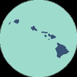 Hawaii Map In Blue Sticker